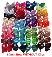 WITHOUT clips 6 inch Hair Bow  NO clips Bow Supplier Hair Accessories Making 40 Colors Available 40pcs/lot Free Shipping