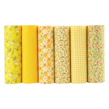 Cotton Fabric No Repeat Design Yellower Series Patchwork Fabric Fat Quarter Bundle Sewing For Fabric 6 pieces 50cm*50cm A1-6-2(Hong Kong)