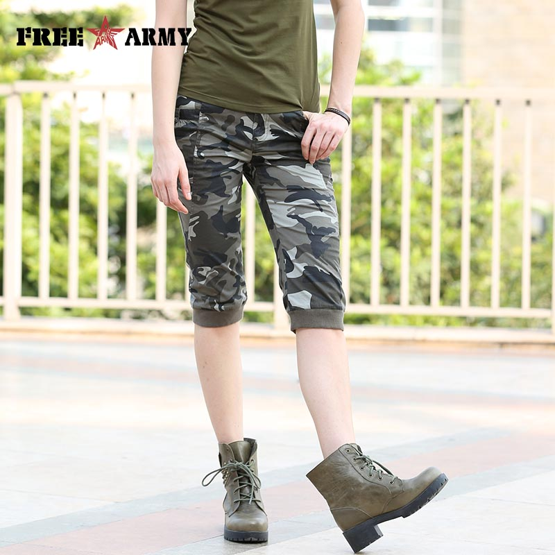 New Fashion Summer Style Knee Length Shorts Womens Military Camouflage Plus Size Las