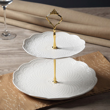 European Style Sculpture Lace Double Layer Cake Stand Dessert Candy Tray Table Kitchen Snack Holder Decotation(China)
