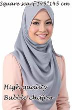 High quality square size bubble chiffon shawls hijab summer nice headband wrap muslim kerchief 20 color scarves/scarf 145*145cm(China)