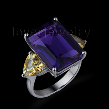 New Beautiful Engagement Gemstone Citrine & Amethyst 18K White Gold Ring SR00106