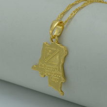 Anniyo SMALL Democratic Republic of the Congo Map Gold Color DRC Pendant Necklaces Jewelry Women Girl  #010106