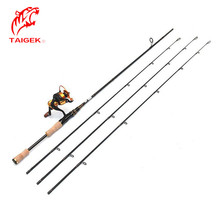 Taigek 2.1m Fast Action Ultralight Carbon Fishing Spinning Fishing Rod 2 Sections Bait Casing Rod Hard Carp Feeder Rods Holder