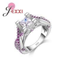 10db27b3e01e JEXXI de diseño de moda anillos de lujo para mujer corte princesa S90 de  plata de la boda anillos de compromiso para las mujeres