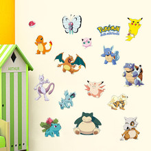 Pocket Monster Pokemon Wall Sticker for Kids Room Home Decoration Pikachu Amination Poster DIY Game Cartoon Nursery Wallpaper(China)