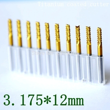 3.175mm titanium coated PCB cutter group 10PCS metal Fresa CNC router engraving tool tungsten carbide cutting machine accessorie