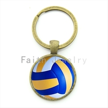Leisure accessories beach volleyball key chain charm volleyball picture print round glass alloy keychain ball fans gift KC255