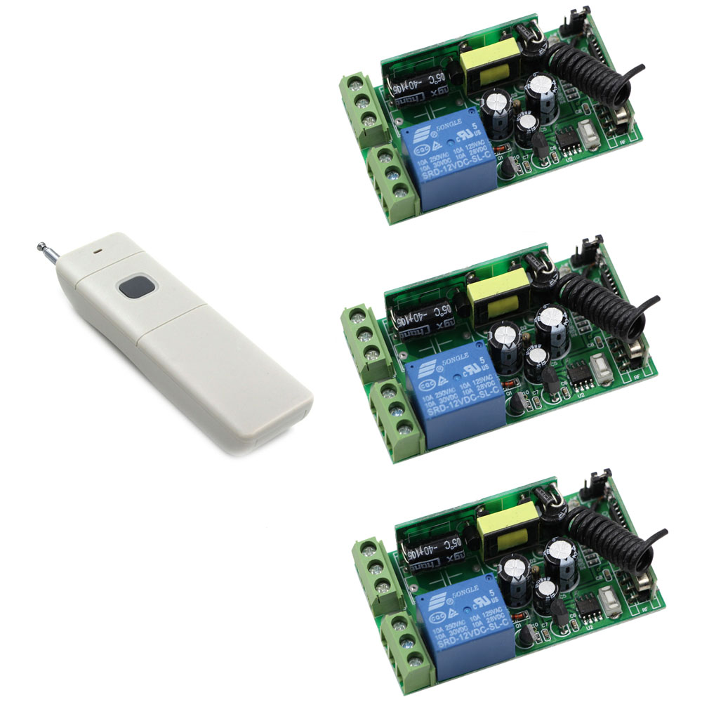 Hot Sale Wireless Remote Control Switches 1CH Relay Receiver+1000m Big Button Transmitter Power Switch 315/433MHZ Learning Code <br>
