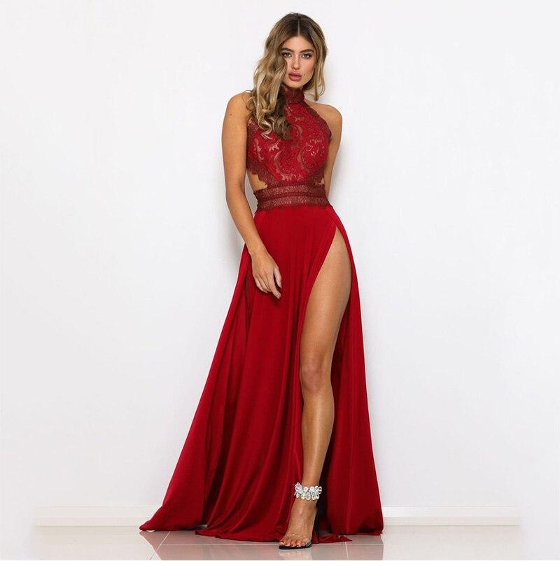 GACVGA Sexy Women Sleeveless Summer Dress Halter Neck Lace Crochet Evening Maxi Long Dress Backless Party Dresses Vestido 8