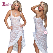 Buy Lurehooker 2017 Plus Size Sexy Lingerie Perspective Lace Sleep Sling Long Dress Split Nightgown +T-thongs Porn Erotic Underwear for $9.08 in AliExpress store