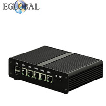 Eglobal Fanless Mini PC 4 LAN Port Intel J1900 Mini Desktop Computer Barebone 12V Linux Pfsense NUC LAN Server Firewall Router(China)