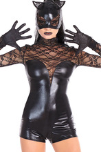 Black Wet Look Cat Costume PVC Erotic Halloween Cat Costume kits Latex Sexy wet look lace up teddy Leather Lingerie 8913