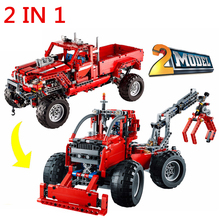 1063pcs Decool Technic 2 In 1 Customized Pick Up Truck Building Blocks Model Bricks Compatible With Lego 42029 Christmas Gift(China)