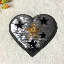 Girl women clothes patch deal with it 22cm heart golden star flip the double sided sequins silver/black patches for clothing