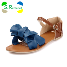 S.Romance New Arrival Big Size 34-45 Colorful Fashion Summer Sweet Women Flat Sandals Casual Butterfly-knot Woman Shoes SS032