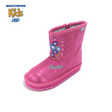 SKECHERS Winter Warm Kid Boots Children Girls Shoe Cute Flower Print Zipper Plush Twinkle Toes Baby Snow Boots Luxury Brand(China)