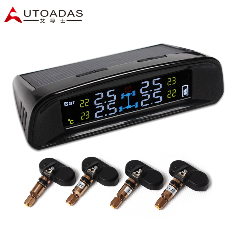 car TPMS with 4 internal sensors solar LCD psi bar tire pressure tpms tools car alarm Tire Pressure Monitoring System<br><br>Aliexpress