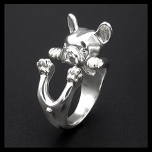 Italy adjustable new fashion french bulldog Ring free size hippie animal bulldog Ring jewelry for pet lovers