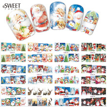 12 Designs in 1 Christmas Santa Snowman Nail Stickers Nail Art Water Transfer Nail Tips Decals Beauty Full Wraps DIY LABN229-240