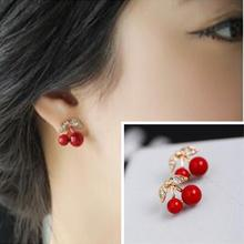 ED 479 2017 fashion red cherry earrings inlaid crystal OL temperament female jewelry accessories factory direct accessories(China)