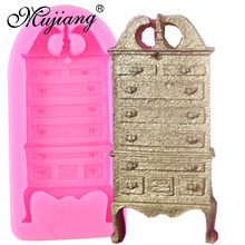 Mujiang Furniture Cabinet Silicone Mold Christmas Fondant Cake Decorating Tools Kitchen Baking Candy Chocolate Gumpaste Moulds(China)