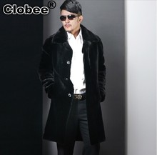 Oversized faux fur coat men clothing 2017 winter luxury faux mink fur jackets coats Long black leather overcoats outerwear WR663