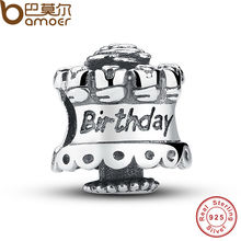 Authentic 925 Sterling Silver Celebrate Happy Birthday Cake Charm Fit Original Bracelet Adorned with Roses PAS096(China)