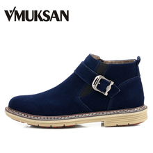 VMUKSAN Hoge Kwaliteit Enkellaarsjes Mannen Fashion Casual Furry Warm Heren Laarzen Big Size 38-46 Winter Hoge Top zip Enkel Schoenen Mannen(China)