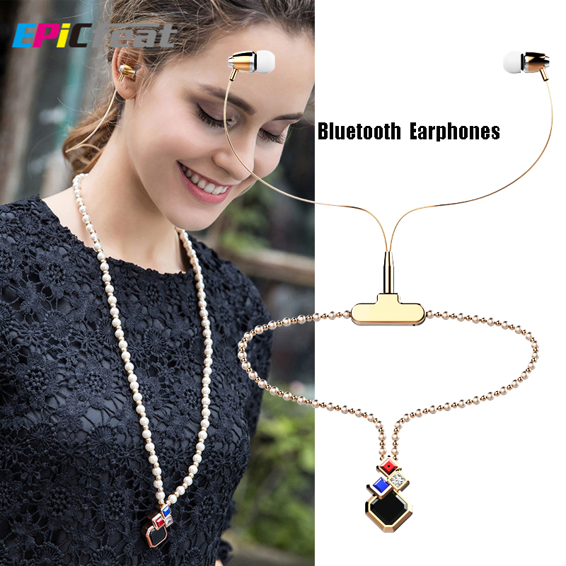BL-100 Women Fashion Necklace Bluetooth Earphones with Microphone Girl Pearl Necklace Crystal LED Headphone for iPhone Android<br><br>Aliexpress