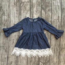baby girls fall dress clothing children cute solid color dress with white lace ruffle dress girls boutique Fall dress clothing