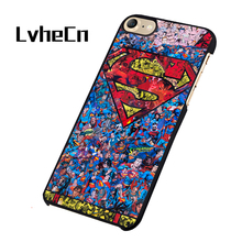 LvheCn Superman Logo DC Super Hero Geek Artwork Drawing phone case cover for iphone 5 5S SE 6 6S 7 8 PLUS X(China)