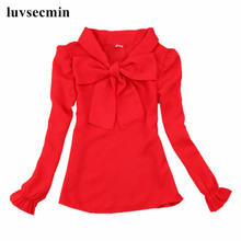 2017 Spring Fall 2-16Y Chiffon Bow Baby Teenage Big Girls White Red Blouse Child Long Sleeve School Girl Tops Kids Shirts JW0552(China)
