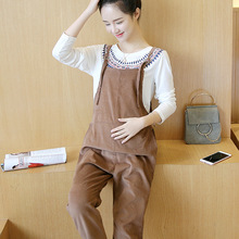 Maternity Overalls Pregnant Women Corduroy Casual Suspender Bib Pants Pregnancy Jumpsuits Rompers Corduroy Pant Y810(China)