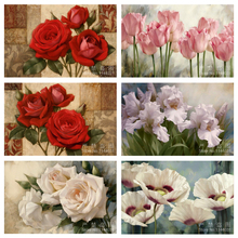 5D DIY Diamond Painting Flower Mosaic Art Needlework Pink Tulip Red Rose Picture Rhinestone Cross Stitch Diamond Embroidery