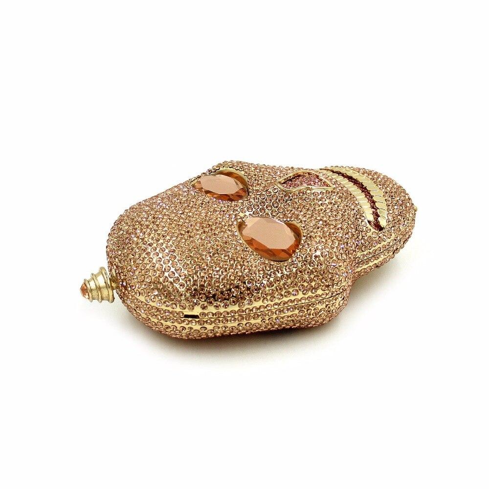 Women Skeleton handbag gold crystal Clutch bag ladies clutch evening bag Wedding purse bride pochette bag silver