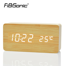 FiBiSonic Wooden Digital LED Alarm Clock reloj despertador Sound Control Temperature Electronic Desk Table desktop Clock(China)
