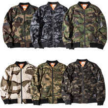 7 Styles Spring Thin Hip Hop Camo Bomber Jacket Camouflage Pilot Coat Hiphop Streetwear Grey Grass Desert(China)