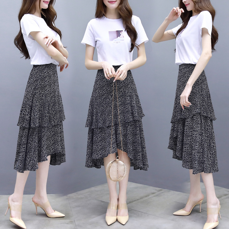 Spring and summer new female student fashion T-shirt top temperament chiffon Mid-calf  skirt two-piece suit T73