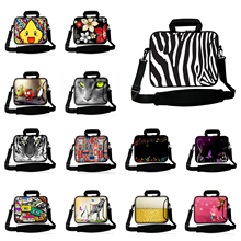 "Zebra Skin 17 Inch Stylish Notebook Shoulder Bags + Handle Pocket 16.8"" 17.3"" 17.4"" Neoprene Shockproof Messenger Laptop Bags PC"