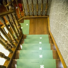 Luminous Stair Sticker Carpet Self-adhesive Non-slip Floor Four Leaf Clover Pattern Stair Tread Protector Mat Home Textile