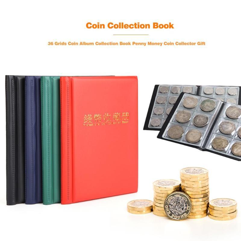 Dark Red 36 Grids Coin Holders Display Album Money Storage Pockets Book