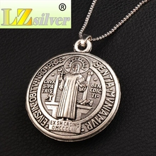 3D Round Saint Benedict Medal Antique Silver Cross Pendant Necklaces N1727 24inches