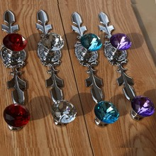 modern fashion deluxe rhineston furniture handle red pink blue purple glass crstal drawer cabinet knob pull silver chrome handle