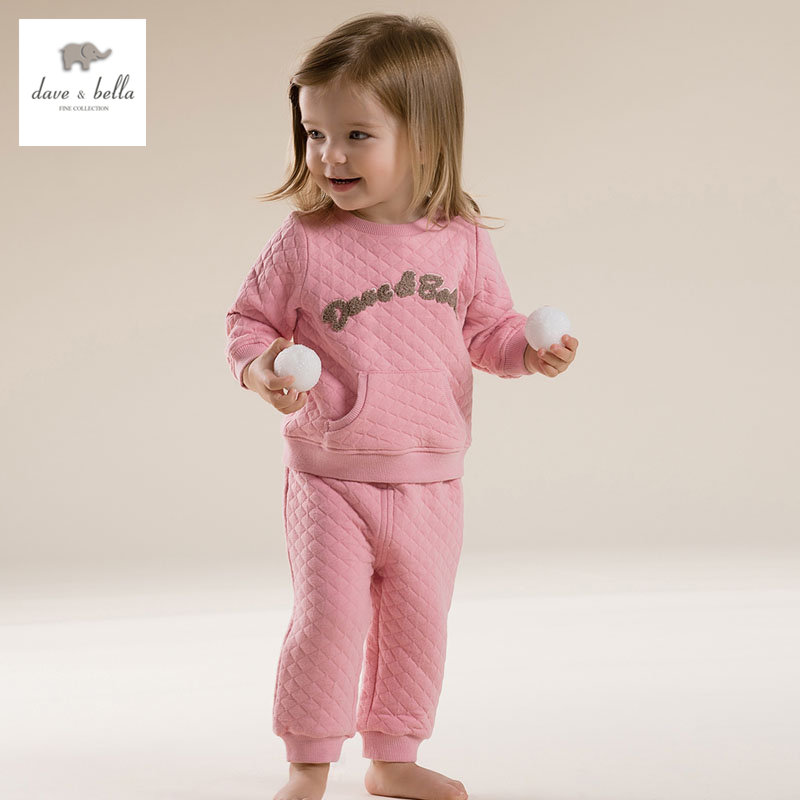 DB2680 dave bella  autumn long sleeve baby pink clothing sets warn padded sports set <br>