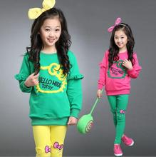 1set Children girl's 2017 spring Autumn long sleeve t-shirt with embroidere hello kitty+  pant  two-piece/set 3colors TZ02