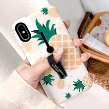AXBETY iPhone 7 8 Case Summer Palm Leaf Soft Silicon Hide Ring Case sFor iPhone 6s XS 7 8 Plus Cover Stand Holder Phone Case