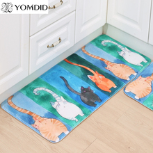 Hot Sale Floor Mats cute Animal Four Cats Printed Bathroom Kitchen Rugs House Doormats Carpet for Living Room Anti-Slip Rug