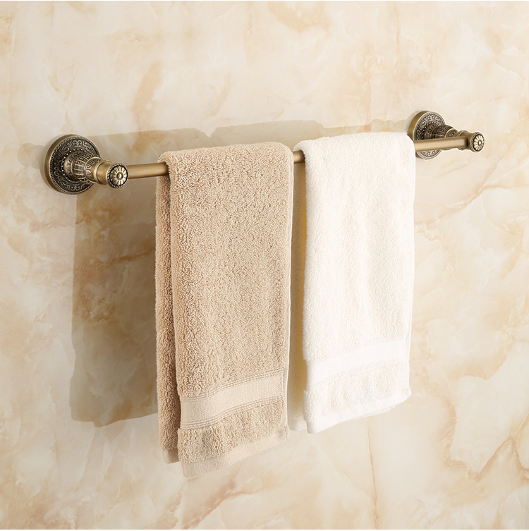 Vintage Zinc Alloy Towel Rack Luxury Bronze Single Layer Carving Wall Mounted Towel Bar Towel Holder Bathroom Accessories X0<br>