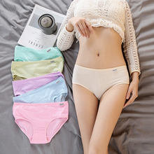 Buy Sexy Women Panties Comfortable Affordable Lady Soft Cotton Mid Waist Underwear Girls Solid Breathable Briefs Hot Style E0066